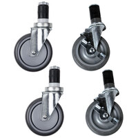 5 inch Zinc Swivel Stem Casters with Poly Tread for Work Tables - 4 / Set
