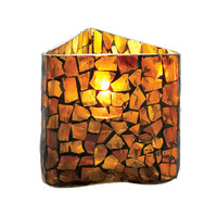 Sterno Products 80206 3 1/2 inch Amber Mosaic Triangle Votive Liquid Candle Holder
