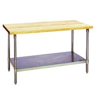 Eagle Group MT3048S Wood Top Work Table with Stainless Steel Base and Undershelf - 30 inch x 48 inch