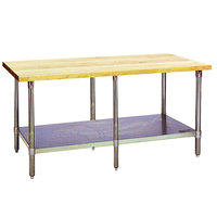 Eagle Group MT3096B Wood Top Work Table with Galvanized Base and Undershelf - 30 inch x 96 inch