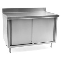 Eagle Group CB24120SE-BS 24 inch x 120 inch Work Table with Cabinet Base and 4 1/2 inch Backsplash