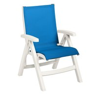 Grosfillex US532004 Belize Midback Folding Resin Sling Armchair - White Frame / Blue Sling
