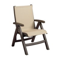 Grosfillex CT352037 Belize Midback Folding Resin Sling Armchair - Bronze Mist Frame / Khaki Sling