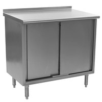Eagle Group UCB2472SE 24 inch x 72 inch Work Table with Cabinet Base and 1 1/2 inch Backsplash