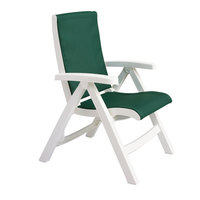 Grosfillex CT089004 Jersey Midback Folding Resin Sling Armchair - White Frame / Hunter Green Sling