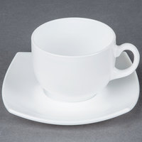 Cardinal Arcoroc Opal Delice E8865 White 7.25 oz. Cup and Saucer Set - 24 Sets / Case