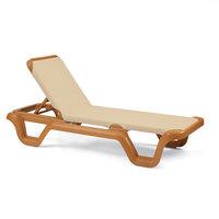 Grosfillex 99414108 / US414108 Marina Teakwood / Khaki Stacking Adjustable Resin Sling Chaise