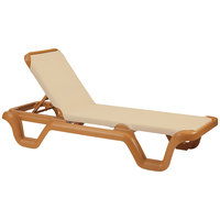 Grosfillex 99414108 / US414108 Marina Teakwood / Khaki Stacking Adjustable Resin Sling Chaise