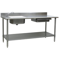Eagle Group PT 3084 Stainless Steel Prep Table with Sink, Drawer, Cutting Board, and Undershelf - 84 inch