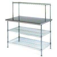 Eagle Group T2448EW-1 24 inch x 48 inch Stainless Steel Table with 2 Chrome Wire Undershelves and 1 Chrome Wire Overshelf