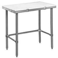 Eagle Group CT2436S 24 inch x 36 inch Poly Top Stainless Steel Cutting Table - Open Base