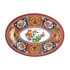 Peacock 9 inch x 6 5/8 inch Oval Melamine Platter - 12/Pack