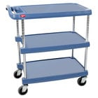 Metro myCart MY1627-34BU Blue Antimicrobial Utility Cart with Three Shelves and Chrome Posts - 18