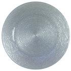 The Jay Companies 13 inch Round Circus Silver Glass Charger Plate