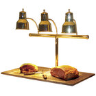 Hanson Heat Lamps 3LM-BB Triple Bulb 20 inch x 36 inch Brass Carving Station with Synthetic Granite Base