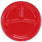 Creative Converting 019548 10 1/4 inch Classic Red Divided Plastic Banquet Plate - 200 / Case