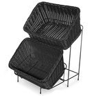 Black Polypropylene 9 1/4 inch x 13 inch Basket with Black Metal Rack