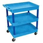 Luxor / H. Wilson BUTC111BU Blue 3 Tub Utility Cart - 24 inch x 32 inch x 38 1/2 inch