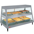 Hatco GRHDH-3PD Gray Granite Stainless Steel Glo-Ray 46 3/8 inch Full Service Dual Shelf Merchandiser with Humidity Chamber