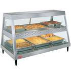 Hatco GRHDH-3PD Stainless Steel Glo-Ray 46 3/8 inch Full Service Dual Shelf Merchandiser with Humidity Chamber