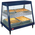 Hatco GRHDH-2PD Navy Blue Stainless Steel Glo-Ray 33 3/8 inch Full Service Dual Shelf Merchandiser with Humidity Chamber