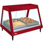 Hatco GRHDH-3P Warm Red Stainless Steel Glo-Ray 46 3/8 inch Full Service Single Shelf Merchandiser with Humidity Chamber