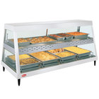 Hatco GRHDH-4PD White Granite Stainless Steel Glo-Ray 59 3/8 inch Full Service Dual Shelf Merchandiser with Humidity Chamber