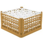 Vollrath 52754 Signature Lemon Drop Full-Size Gold 20-Compartment 9 15/16 inch XXX-Tall Glass Rack