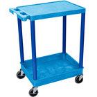 Luxor / H. Wilson BUSTC21BU Blue Two Shelf Utility Cart - 1 Tub Shelf, 24 inch x 18 inch x 35 3/4 inch