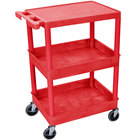 Luxor / H. Wilson STC211-RD Red Three Shelf Utility Cart - 2 Tub Shelves, 24 inch x 18 inch x 36 1/2 inch
