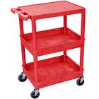 Luxor RDSTC211RD Red Three Shelf Utility Cart