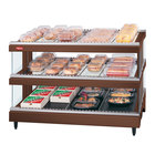 Hatco GR3SDS-33D Antique Copper Glo-Ray 33 inch Slanted Double Shelf Heated Glass Merchandising Warmer