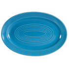 CAC TG-13-PCK Tango 11 3/4 inch x 8 inch Peacock Oval Platter - 12/Case