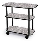 Geneva 36100 Rectangular 3 Shelf Laminate Tableside Service Cart with Gray Sand Finish - 16
