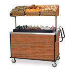 Lakeside 668 Stainless Steel Vending Cart with Insulated Polyethylene Ice Bin, Overhead Shelf, and Victorian Cherry Finish - 28 1/2 inch x 54 3/4 inch x 67 inch
