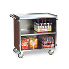 Lakeside 644 3 Shelf Medium Duty Stainless Steel Utility Cart with Enclosed Base and Walnut Finish - 22 1/2 inch x 39 1/4 inch x 37 3/8 inch
