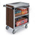 Lakeside 822 3 Shelf Heavy Duty Stainless Steel Utility Cart with Enclosed Base and Walnut Finish - 19 1/2 inch x 31 1/4 inch x 34 1/2 inch
