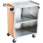 Lakeside 610 3 Shelf Standard Duty Stainless Steel Utility Cart with Enclosed Base and Light Maple Finish - 16 1/2