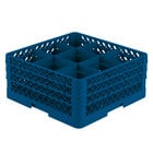 Vollrath TR10FFA Traex Full-Size Royal Blue 9-Compartment 7 7/8 inch Glass Rack with Open Rack Extender On Top