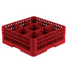 Vollrath TR10FF Traex Full-Size Red 9-Compartment 6 3/8 inch Glass Rack