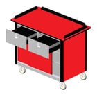 Lakeside 69040 Stainless Steel Beverage Service Cart with 2 Drawers and Red Laminate Finish - 26 inch x 44 1/2 inch x 37 3/4 inch