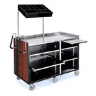 Lakeside 68010 4 Shelf Stainless Steel Vending Cart with Pull-Out Shelves and Red Maple Laminate Finish - 27 1/2 inch x 60 inch x 70 inch