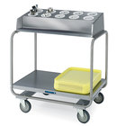 Lakeside 213 Stainless Steel Flatware / Tray Cart with 10 Hole Flatware Bin - 34 3/4 inch x 22 1/2 inch x 39 3/4 inch