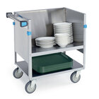 Lakeside 407 Stainless Steel Two Shelf Store 'N Carry Dish Cart - 200 Dish Capacity