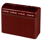 Rubbermaid FGFGR4816TGPC Recycling Centers Maroon Fiberglass 4-Section Can/Paper/Glass/Trash Recycling Station with Galvanized Steel Liner (2) 9, (2) 16 Gallon (FGFGR4816TGPCGLMN)