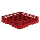 Vollrath TR8 Traex Full-Size Red 16-Compartment 3 1/4 inch Glass Rack