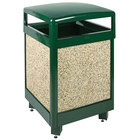 Rubbermaid R38HT Aspen Hinged-Top Empire Green with Desert Brown Stone Panels Square Steel Waste Receptacle with Rigid Plastic Liner 38 Gallon (FGR38HT202PL)