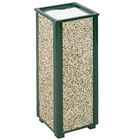 Rubbermaid R40 Aspen Empire Green with Desert Brown Stone Panels Square Steel Cigarette Urn (FGR40202)