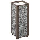 Rubbermaid R40 Aspen Architectural Bronze with Glacier Gray Stone Panels Square Steel Cigarette Urn (FGR406000)