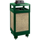 Rubbermaid R36HTWU Aspen Hinged-Top Empire Green with Desert Brown Stone Panels Square Steel Waste Receptacle with Weather Urn and Rigid Plastic Liner 29 Gallon (FGR36HTWU202PL)